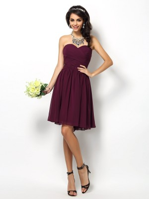 A-Line Sweetheart Pleats Sleeveless Short Chiffon Debs Dress