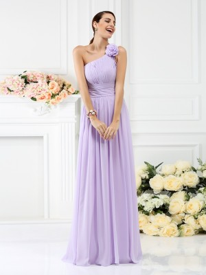 A-Line One-Shoulder Pleats Hand-Made Flower Sleeveless Long Chiffon Debs Dress