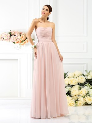 A-Line Strapless Pleats Sleeveless Long Chiffon Debs Dress