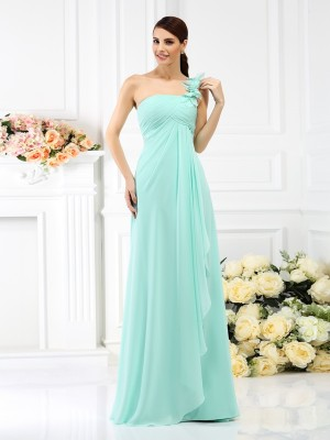 A-Line One-Shoulder Pleats Sleeveless Long Chiffon Debs Dress