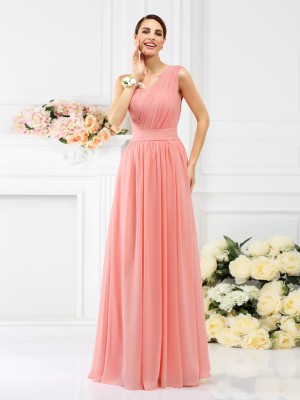 One-Shoulder A-Line Sleeveless Floor-Length Chiffon Debs Dress With Pleats