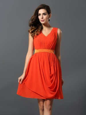 A-Line V-neck Pleats Sleeveless Short Chiffon Debs Dress