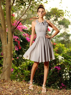 Fantastic A-Line Scoop Chiffon Hand-Made Flower Sleeveless Short Debs Dress