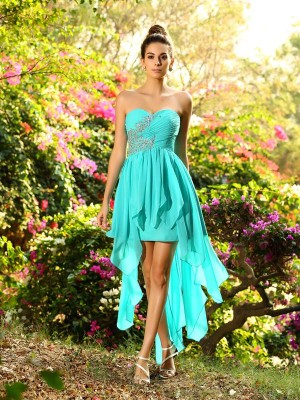 A-Line Sweetheart Beading Sleeveless High Low Chiffon Debs Dress