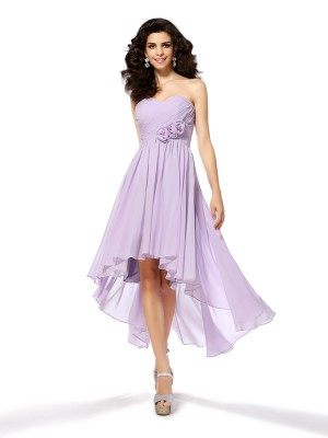 A-Line Sweetheart Hand-Made Flower Sleeveless High Low Chiffon Cocktail Dresses