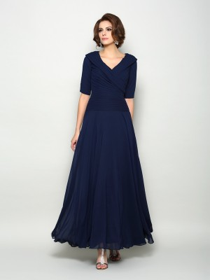 A-Line V-neck 1/2 Sleeves Long Chiffon Dresses