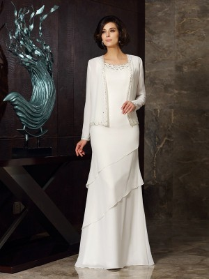 Sheath Scoop Beading Sleeveless Long Chiffon Dresses