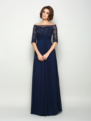 A-Line Off-the-Shoulder Beading 1/2 Sleeves Long Chiffon Dresses