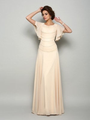 A-Line Square Beading Short Sleeves Long Chiffon Dresses