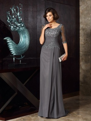 A-Line Scoop Chiffon 1/2 Sleeves Sweep/Brush Train Dresses With Beading