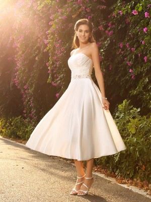 A-Line Sweetheart Beading Sleeveless Short Satin Wedding Dresses