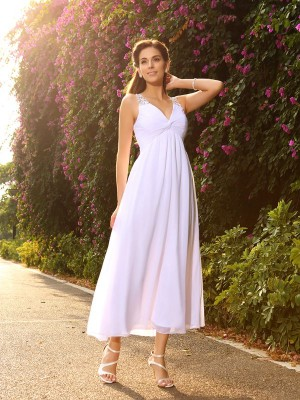 A-Line V-neck Beading Sleeveless Long Chiffon Wedding Dresses