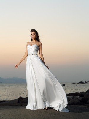A-Line Sweetheart Beading Sleeveless Long Taffeta Beach Wedding Dresses