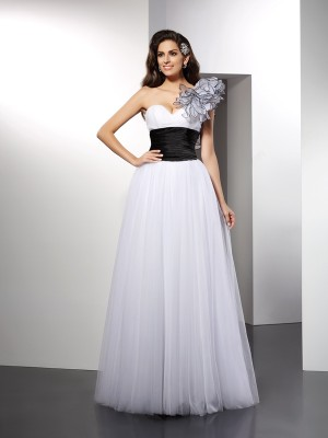 A-Line One-Shoulder Sash/Ribbon/Belt Sleeveless Long Net Dresses