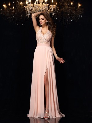 A-Line Halter Lace Sleeveless Long Chiffon Dresses