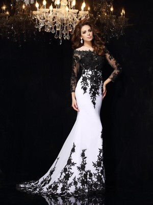 Sweep Train Sheath Scoop Long Sleeves Lace Chiffon Dresses