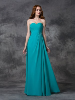 A-Line Sweetheart Sleeveless Long Ruffles Chiffon Bridesmaid Dresses