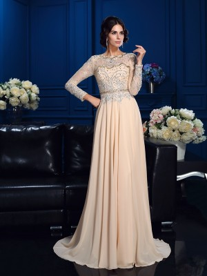 A-Line Scoop Beading Long Sleeves Long Chiffon Mother of the Bride Dresses