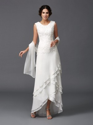 A-Line Scoop Sleeveless Lace Chiffon Asymmetrical Mother of the Bride Dresses
