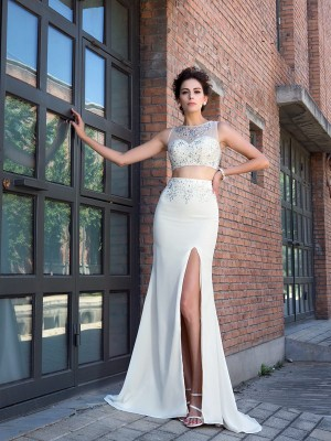 Sheath High Neck Crystal Sleeveless Long Chiffon Two Piece Dresses