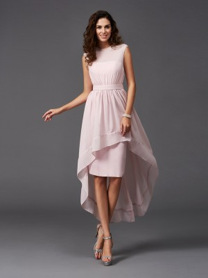A-Line Scoop Sash/Ribbon/Belt Sleeveless High Low Chiffon Bridesmaid Dresses