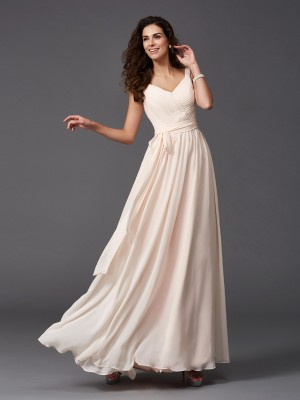 A-Line Straps Sash/Ribbon/Belt Sleeveless Long Chiffon Bridesmaid Dresses