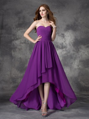A-Line Sweetheart Ruffles Sleeveless High Low Chiffon Bridesmaid Dresses
