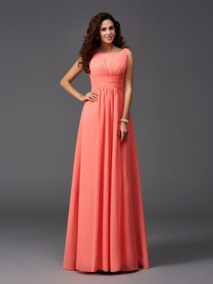 A-Line Scoop Sleeveless Sweep/Brush Train Chiffon Bridesmaid Dresses With Ruffles