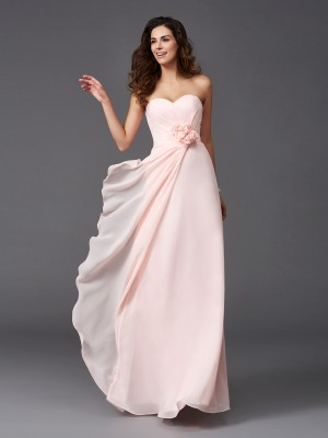 A-Line Sweetheart Hand-Made Flower Sleeveless Long Chiffon Bridesmaid Dresses