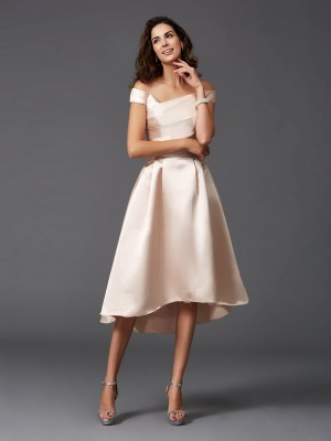 A-Line Off-the-Shoulder Sleeveless High Low Satin Bridesmaid Dresses