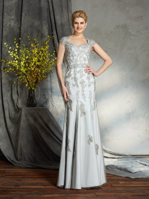 Sheath Sweetheart Applique Sleeveless Long Satin Mother of the Bride Dresses