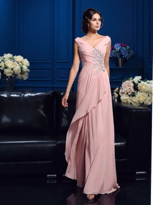 Sweep Train A-Line V-neck Sleeveless Beading Chiffon Mother of the Bride Dresses