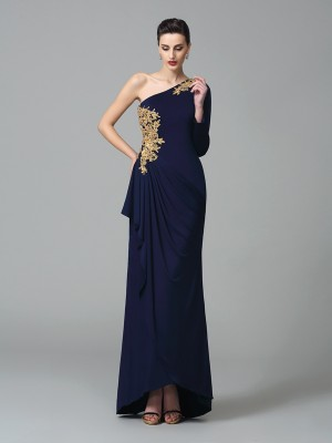 Sheath One-Shoulder Embroidery Long Sleeves Long Spandex Dresses