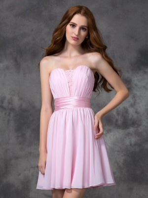 A-Line Sweetheart Ruched Sleeveless Short Chiffon Dresses