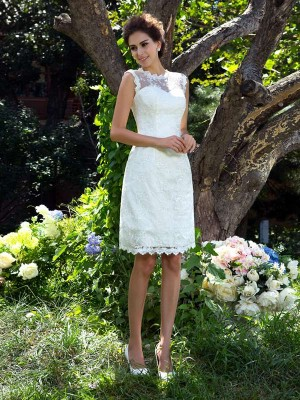 A-Line Sheer Neck Applique Sleeveless Short Satin Wedding Dresses