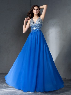 A-Line V-neck Beading Sleeveless Long Chiffon Dresses