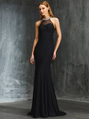 Sheath/Column Jewel Beading Sleeveless Spandex Sweep/Brush Train Dresses