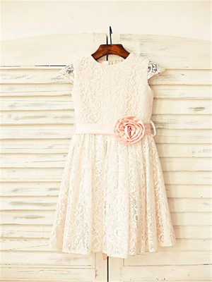 Tea-Length A-Line/Princess Scoop Short Sleeves Hand-Made Flower Lace Flower Girl Dresses
