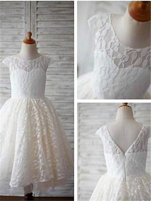 Tea-Length A-Line/Princess Scoop Short Sleeves Lace Flower Girl Dresses