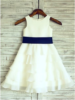 Tea-Length A-Line/Princess Scoop Sleeveless Ruffles Chiffon Flower Girl Dresses