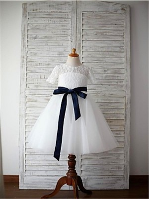 Tea-Length A-Line/Princess Scoop 1/2 Sleeves Sash/Ribbon/Belt Tulle Flower Girl Dresses