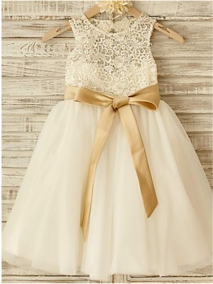 A-Line/Princess Scoop Sleeveless Bowknot Knee-Length Tulle Flower Girl Dresses