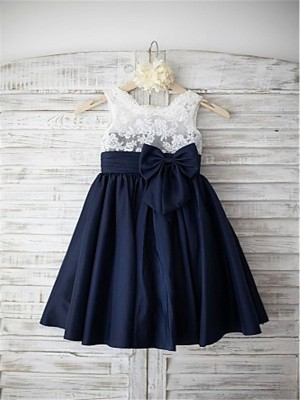 Tea-Length A-Line/Princess Straps Sleeveless Bowknot Taffeta Flower Girl Dresses