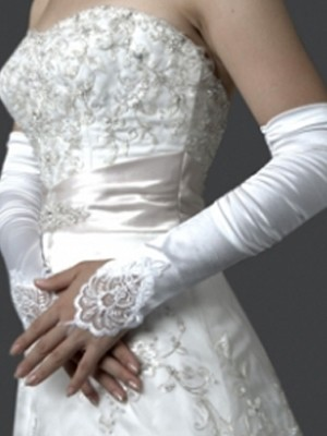 Taffeta Elbow Gloves With Lace