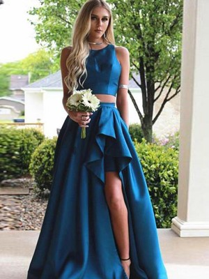 A-Line/Princess Scoop Sleeveless Sweep/Brush Train Ruffles Satin Two Piece Dresses
