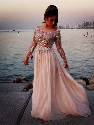 Long Sleeves A-line/Princess Bateau Beading Sweep/Brush Train Chiffon Dress