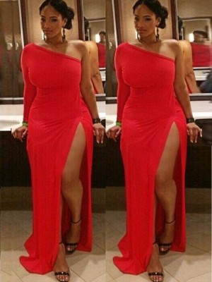 Sheath/Column One-Shoulder Long Sleeves Ruched Spandex Sweep/Brush Train Plus Size Dresses