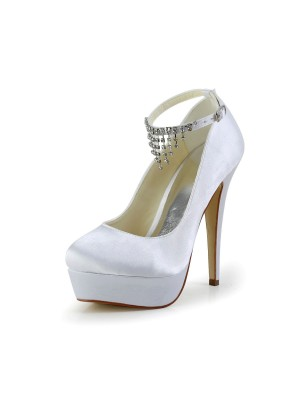 Women's Nice Satin Stiletto Heel Closed Toe With Rhinestone Wedding Shoes