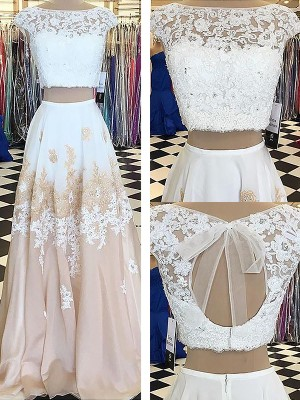 A-Line/Princess Floor-Length Sleeveless Bateau Chiffon Lace Two Piece Dresses