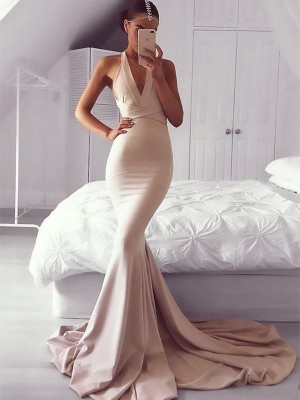 Trumpet/Mermaid V-neck Sleeveless Sweep/Brush Train Spandex Ruffles Dresses